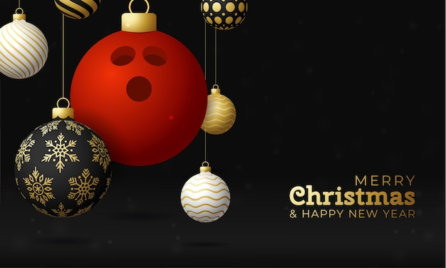 Bowling christmas card. merry christmas sport greeting card. hang on a thread bowling ball as a xmas ball and golden bauble on black horizontal background. sport vector illustration.