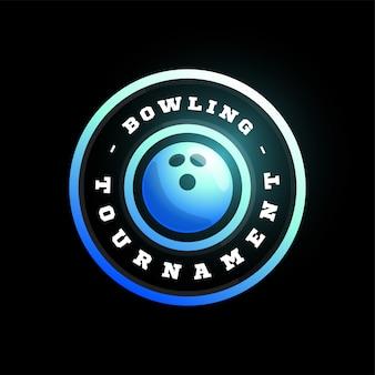 ボウリングの円形ロゴ。現代プロのタイポグラフィスポーツレトロスタイルエンブレムとテンプレートロゴタイプデザイン。ボウリングブルーのロゴタイプ。