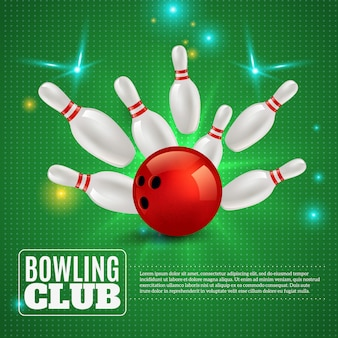 Bowling club 3d composition hitting ball on pins on green with flashes and sparks illustration