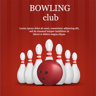 Bowling club concept , realistic style