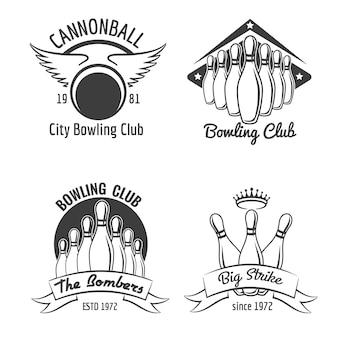 Bowling club emblem set
