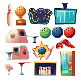 Bowling club equipment icons, design elements set isolated. ball, skittle, score monitor, desk with chair, golden trophy, coffee table, sneakers, fridge cartoon vector illustration