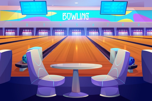 Bowling club interior tables and playing alleys