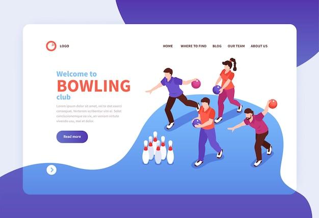 Modello di pagina di destinazione del club di bowling
