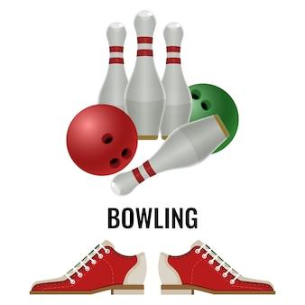 遊び用機器と履物スニーカーのボウリングクラブのロゴデザイン。ピンとボール、白で隔離のスキトルズのベクトル図