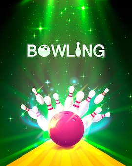明るい背景のボウリングクラブのポスター。ベクトルイラスト