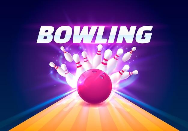 Боулинг-клуб плакат с ярким фоном. векторная иллюстрация
