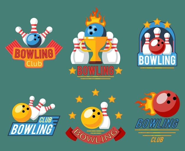 Emblemi di bowling e set di etichette per giochi di bowling