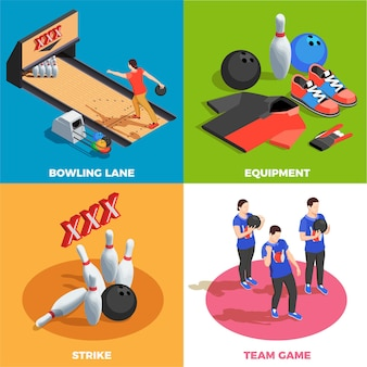 Bowling equipment team of players and game position strike isometric  concept isolated