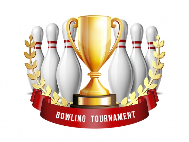 ボウリングゲーム賞。ボウリングのボールと白いボウリングのピンとゴールデンカップ。現代のトーナメント。 element for sport promotionの小冊子またはボーリング大会リーグのチラシ。