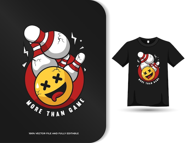 Bowling game cute design with tshirt template