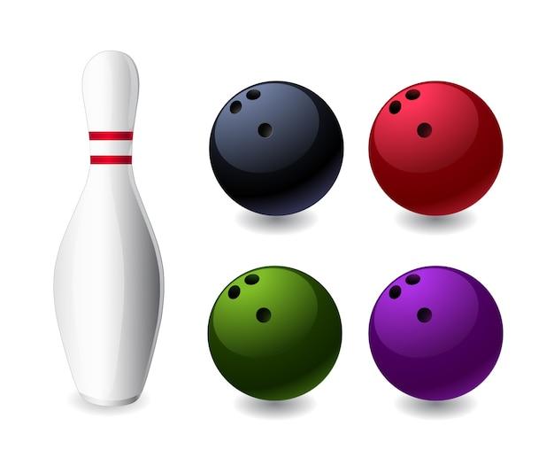 ボウリングゲームのピンとボールのアイコン