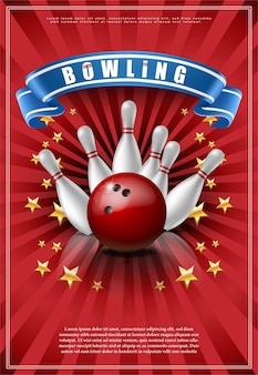 Bowling game poster with red ball and white skittles.
