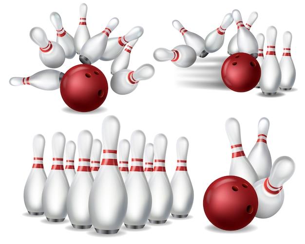Игра в боулинг реалистичная иллюстрация