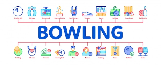 Bowling game tools minimal infographic banner