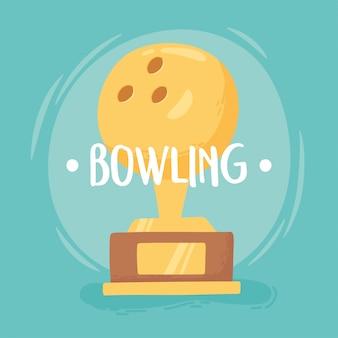 Боулинг золотой трофей мяч награда игра развлекательный спорт плоский дизайн векторные иллюстрации