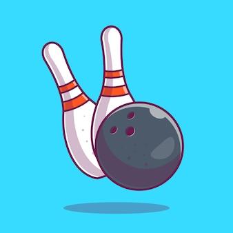 ボウリングアイコン。ボウリングのボールとピン、分離されたスポーツアイコン
