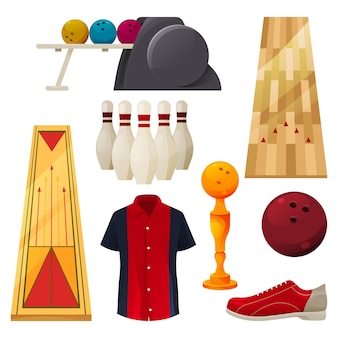 Набор иконок для боулинга векторных игровых инструментов
