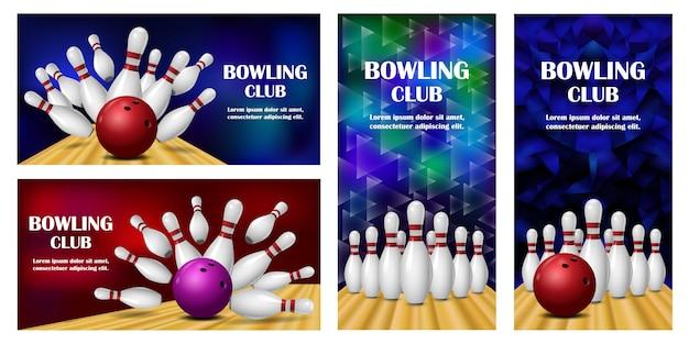 Bowling kegling banner set