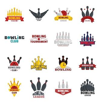 Bowling kegling game logo set
