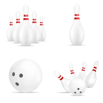 Bowling kegling mockup set. realistic illustration of 4 bowling, kegling mockups for web