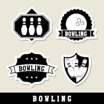Bowling labels over beige background vector illustration