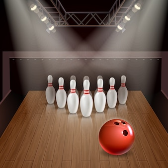 Bowling lane with exposed skittles and red ball under spotlights 3d illustration