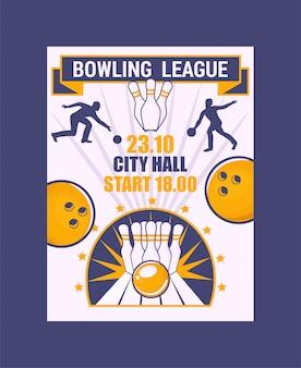 ボウリングリーグバナー、ポスターベクトルイラスト。ボールがピンにぶつかり、ストライキが発生する