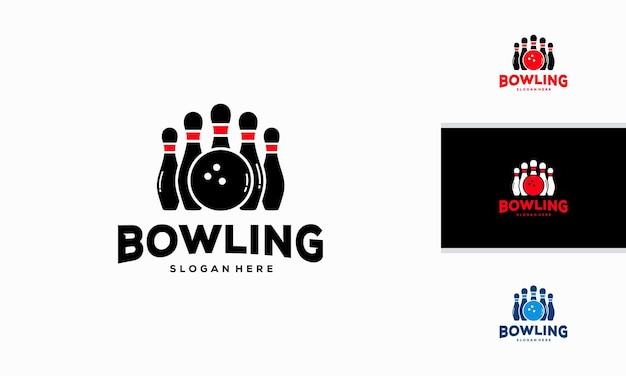 Bowling logo designs concept vector