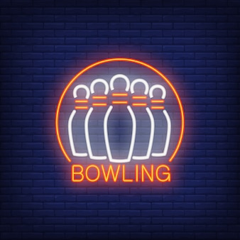Bowling neon sign with skittles and round frame. night bright advertisement.