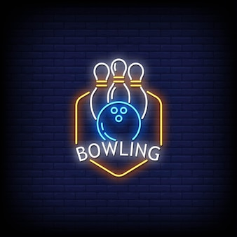Bowling neon signs style text