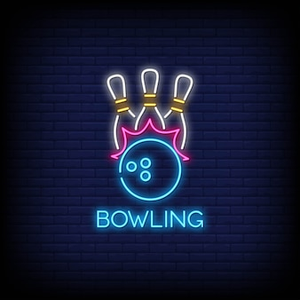 Bowling neon signs style