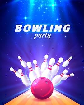 明るい背景のボウリングパーティークラブのポスター。ベクトルイラスト