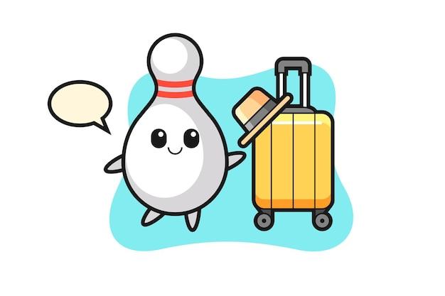 휴가에 수하물이 있는 볼링 핀 만화 그림, 티셔츠, 스티커, 로고 요소를 위한 귀여운 스타일 디자인