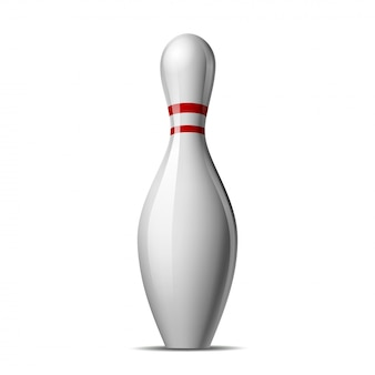 Bowling pin with a colored stripe isolated.