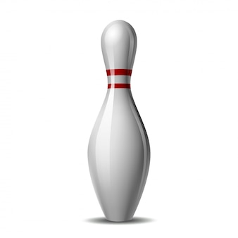 Bowling pin with a colored stripe  on a white background.  illustration