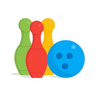 ボウリングのピンと1つのボールのイラストは、すっきりとしたフラットなデザインで隔離されています。子供のおもちゃのイラスト。