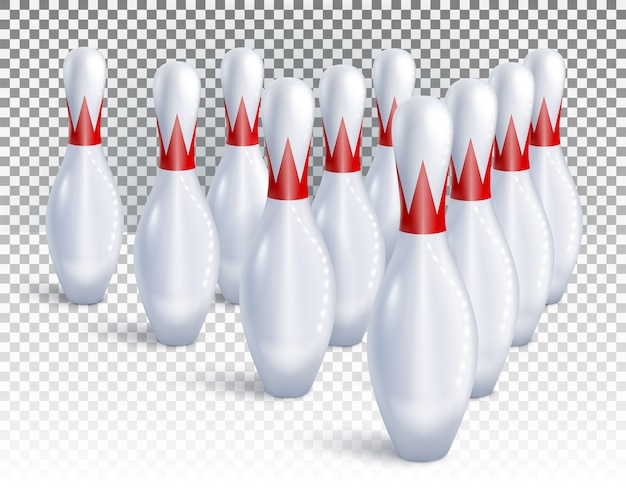 Bowling pins are arranged for game and tournament top view.