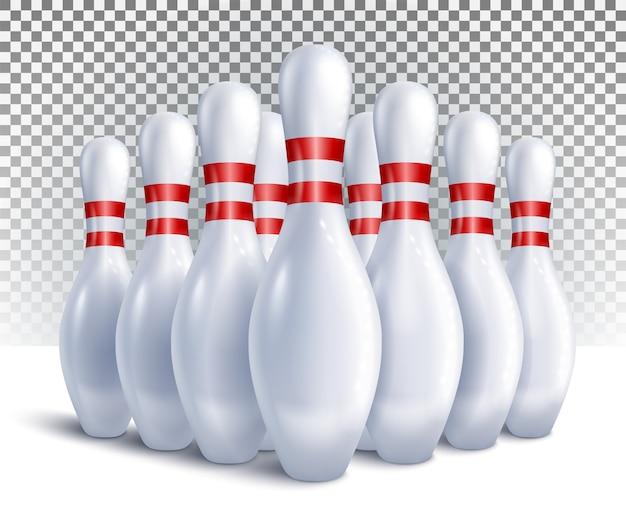 게임 및 토너먼트 전면보기를 위해 배열 된 볼링 핀.