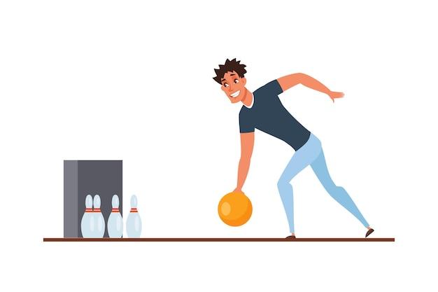Игрок в боулинг, бросающий мяч
