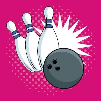 Bowling pop art cartoon