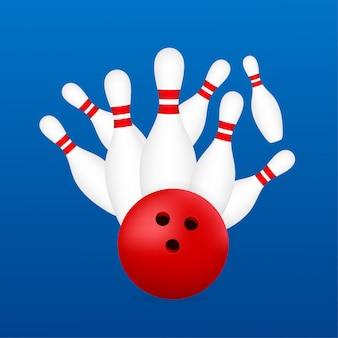 ボウリングポスター。ボウリングゲームレジャーコンセプト。図。
