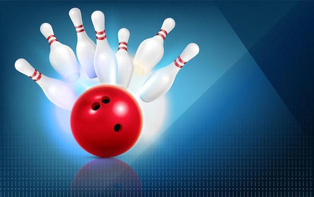 Реалистичная композиция для боулинга с красным мячом и кучей кеглей