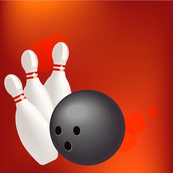 Bowling realistic illustration background