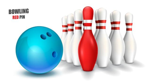 ボウリングの赤いピンと青いボール