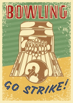 Bowling retro poster with vertical composition of ten pin bowling lane image and editable ornate text