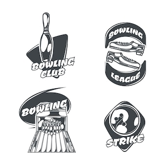 Bowling set of four isolated logos in vintage style