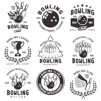 Боулинг набор эмблем иллюстрации