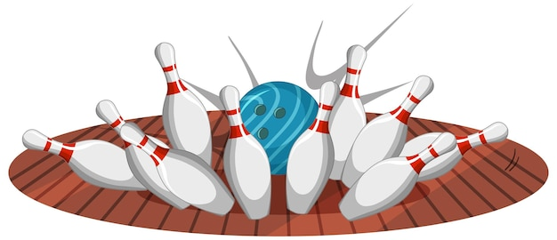 Stile del fumetto di sciopero di bowling isolato su bianco