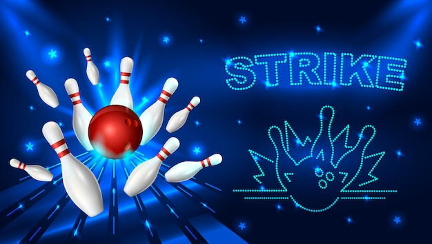 Bowling strike template illustration.